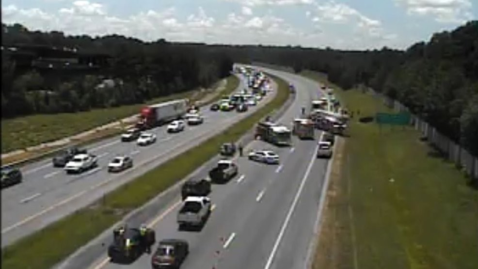 Car accident causing lane closures on Interstate 77 near