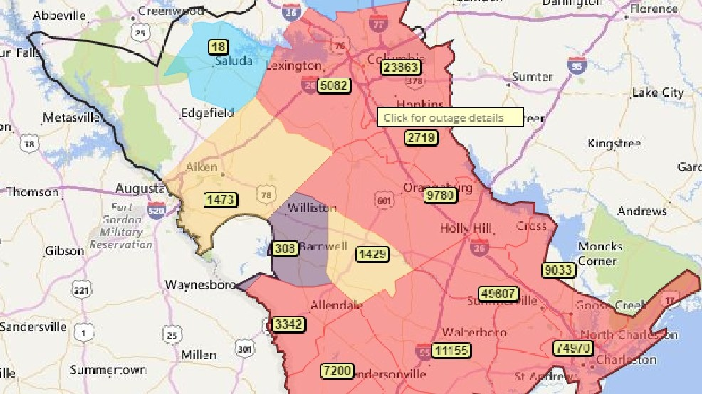 Power outages effecting counties across Midlands, state   WACH on national grid power outages, southern california edison power outages, consumers energy power outages,